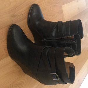 Frye black leather wedge booties. Size 7.5